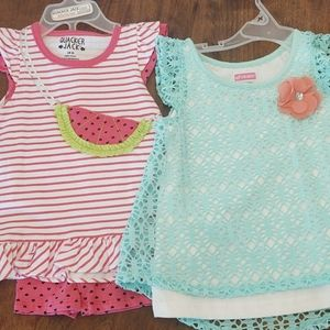 2-Item Lot Toddler Girl - Pink/Teal/Watermelon